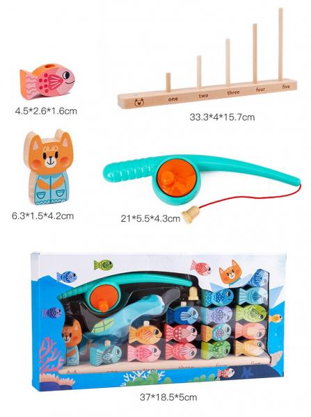 Joc Montessori din lemn Pescuit Magnetic invatare numere 9