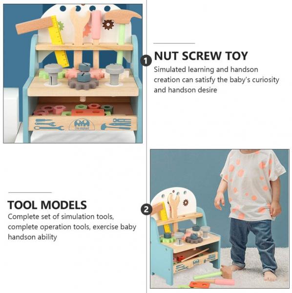 Jucarie Lemn Montessori Banc de Scule Pastel - Masa lucru copii 5
