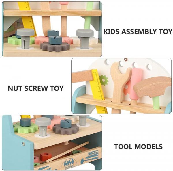 Jucarie Lemn Montessori Banc de Scule Pastel - Masa lucru copii 8