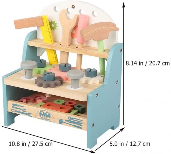 Jucarie Lemn Montessori Banc de Scule Pastel - Masa lucru copii 9