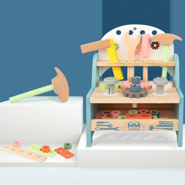 Jucarie Lemn Montessori Banc de Scule Pastel - Masa lucru copii 6