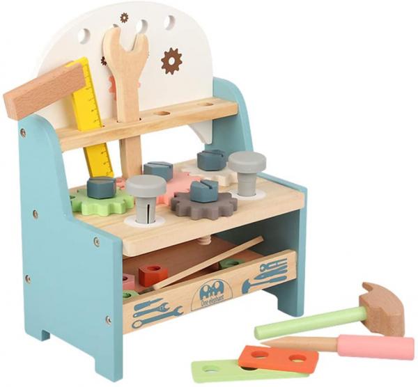 Jucarie Lemn Montessori Banc de Scule Pastel - Masa lucru copii 1