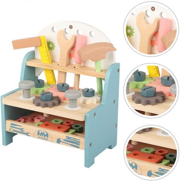Jucarie Lemn Montessori Banc de Scule Pastel - Masa lucru copii 7