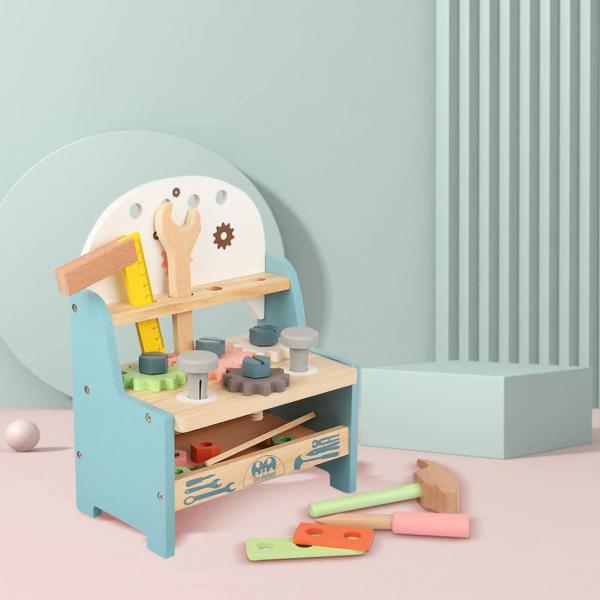 Jucarie Lemn Montessori Banc de Scule Pastel - Masa lucru copii 3