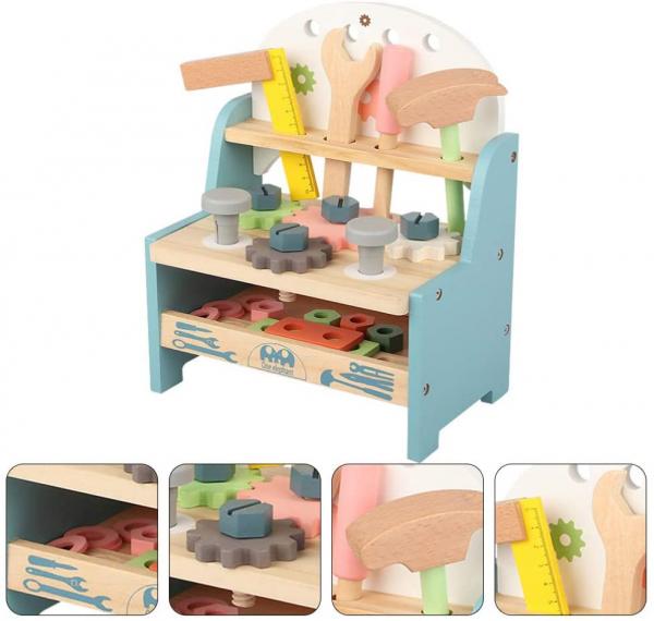Jucarie Lemn Montessori Banc de Scule Pastel - Masa lucru copii 4