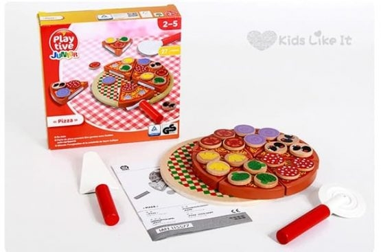 Pizza din Lemn de feliat pentru Copii - Joc de Lemn Pizza 2