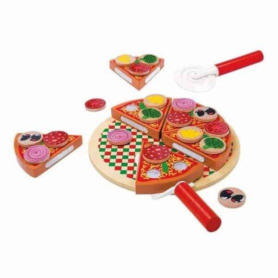 Pizza din Lemn de feliat pentru Copii - Joc de Lemn Pizza 0