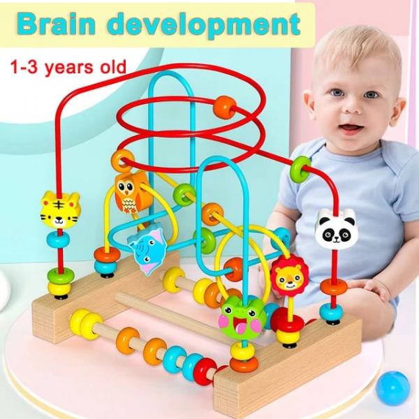 Jucarie Montessori labirint cu bile si abac 1