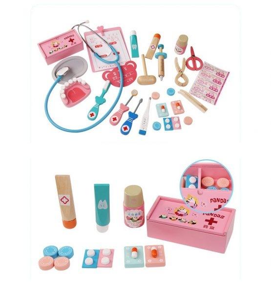 Trusa Dentist de  jucarie pentru copii cu accesorii din lemn 1