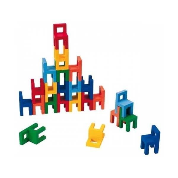 Joc din lemn Echilibru Scaunele colorate Goki 2