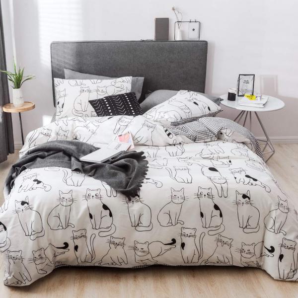 Lenjerie pat copii cu pisici Lenjerie pat dublu bumbac satinat 0