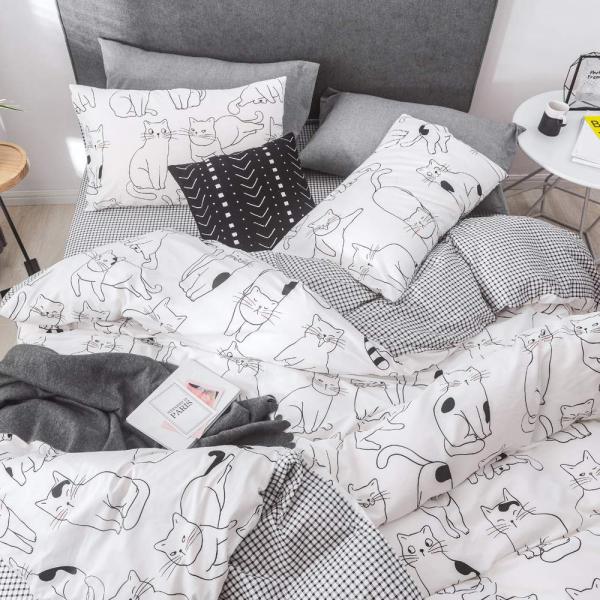 Lenjerie pat copii cu pisici Lenjerie pat dublu bumbac satinat 2