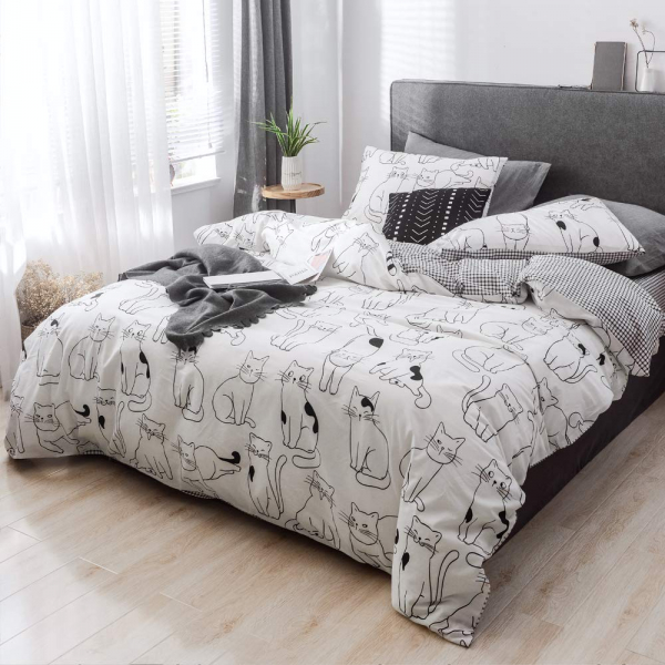 Lenjerie pat copii cu pisici Lenjerie pat dublu bumbac satinat 1