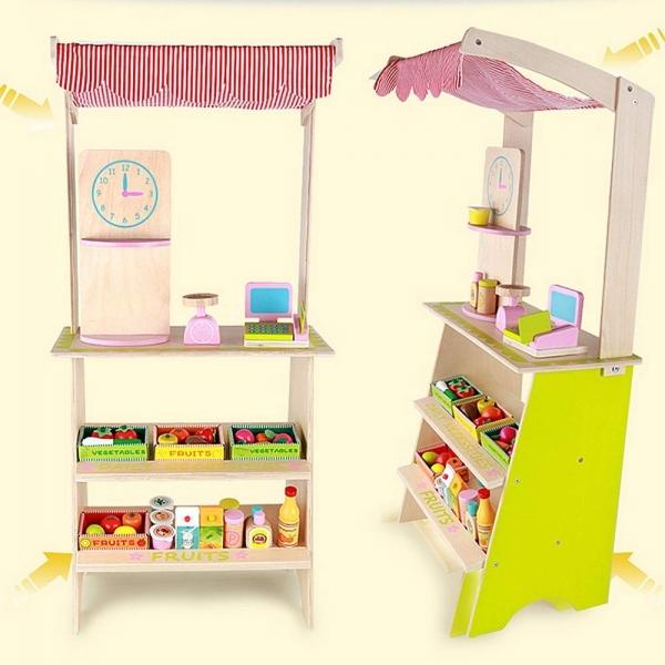 Stand din lemn cu accesorii copii - Supermarket din lemn copii 2