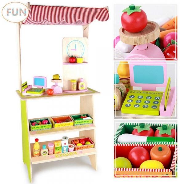 Stand din lemn cu accesorii copii - Supermarket din lemn copii 1