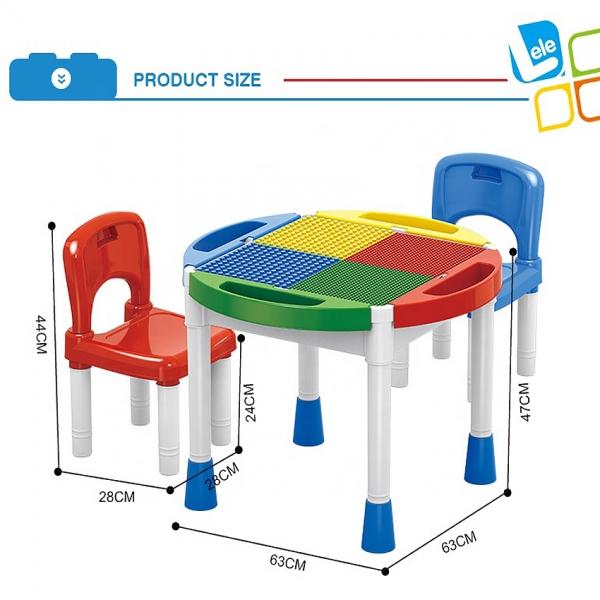 Masa Lego cu 2 scaune 2 in 1 compatibila cu piesele lego 6