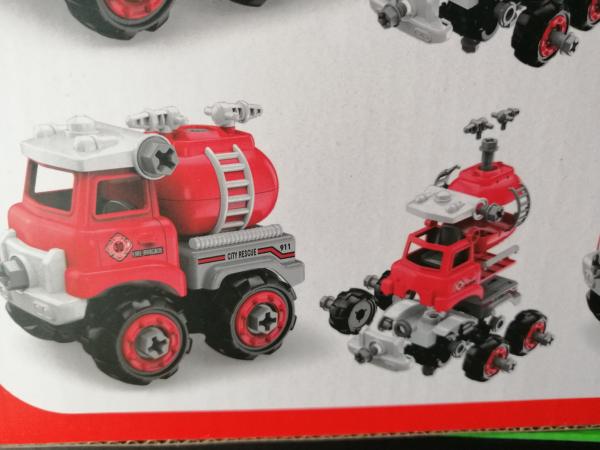 Masinuta de asamblat Masina de gunoi - Masina de pompieri 4