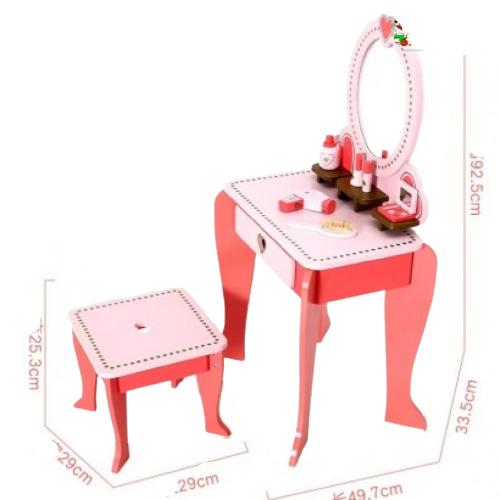 Set Masa de toaleta cu scaun si oglinda pentru fetite din lemn - Masuta infrumusetare copii din lemn 6