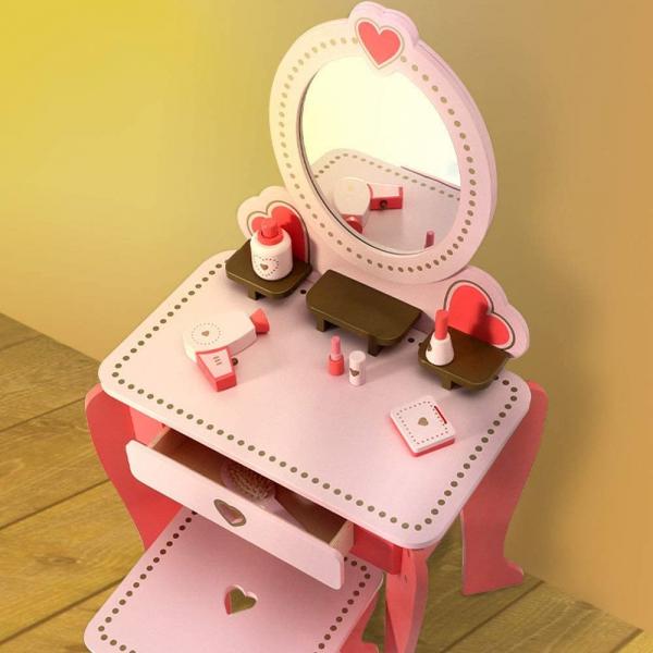 Set Masa de toaleta cu scaun si oglinda pentru fetite din lemn - Masuta infrumusetare copii din lemn 11