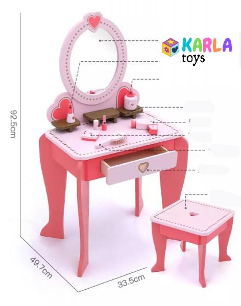 Set Masa de toaleta cu scaun si oglinda pentru fetite din lemn - Masuta infrumusetare copii din lemn 7