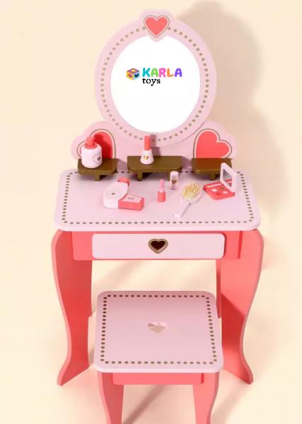 Set Masa de toaleta cu scaun si oglinda pentru fetite din lemn - Masuta infrumusetare copii din lemn 5