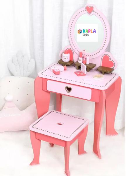 Set Masa de toaleta cu scaun si oglinda pentru fetite din lemn - Masuta infrumusetare copii din lemn 9