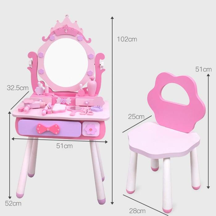 Masuta infrumusetare din lemn cu scaun si oglinda ajustabila 4