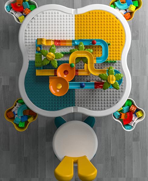 Masuta tip lego duplo cu scaun Iepuras 100 piese mari 3