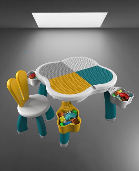 Masuta tip lego duplo cu scaun Iepuras 100 piese mari 15