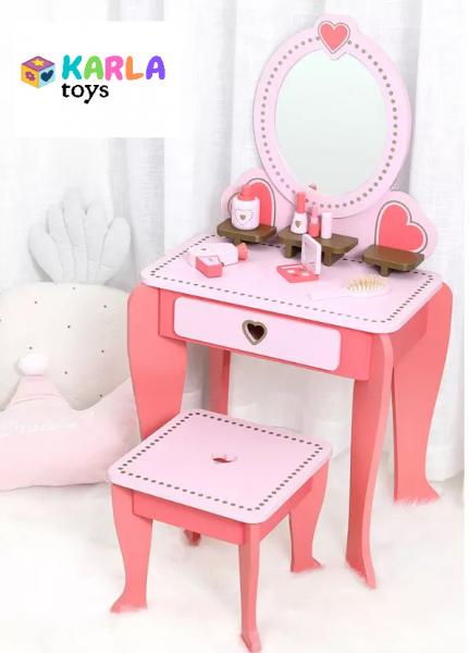 Set Masa de toaleta cu scaun si oglinda pentru fetite din lemn - Masuta infrumusetare copii din lemn 0