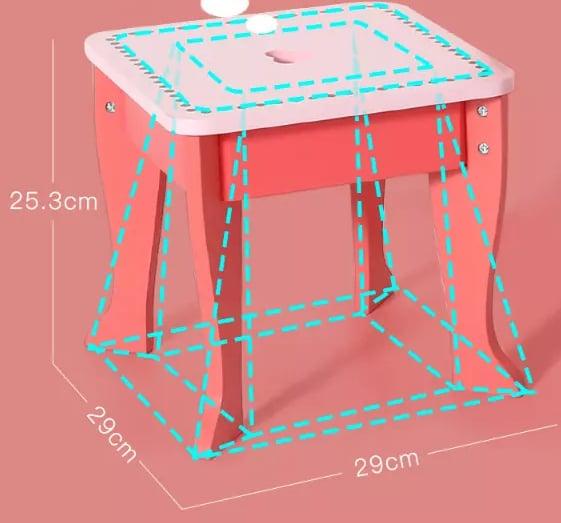 Set Masa de toaleta cu scaun si oglinda pentru fetite din lemn - Masuta infrumusetare copii din lemn 1