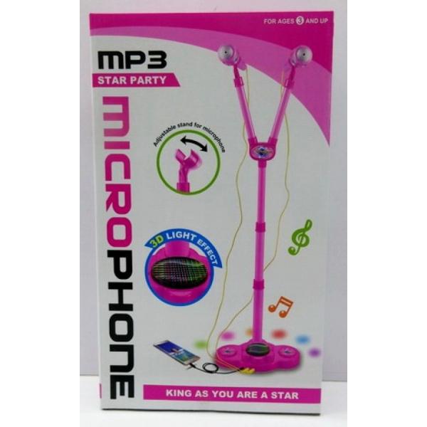 Microfon de jucarie cu stativ mufa de MP3 player si lumini 0