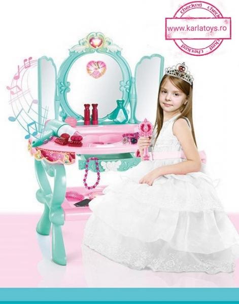 Masuta oglinda Fetite cu telecomanda - Masuta infrumusetare cu accesorii si scaun 1