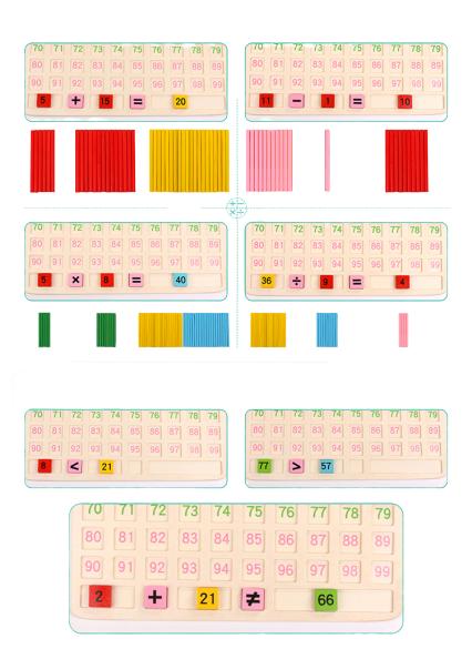 Joc din Lemn Matematic - Joc Lemn Operatii Matematice cu Betisoare 3