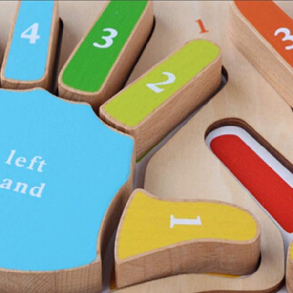 Joc Puzzle Lemn Montesorii 3D Palma - Puzzle Lemn 3D Numarul Degetelor 3