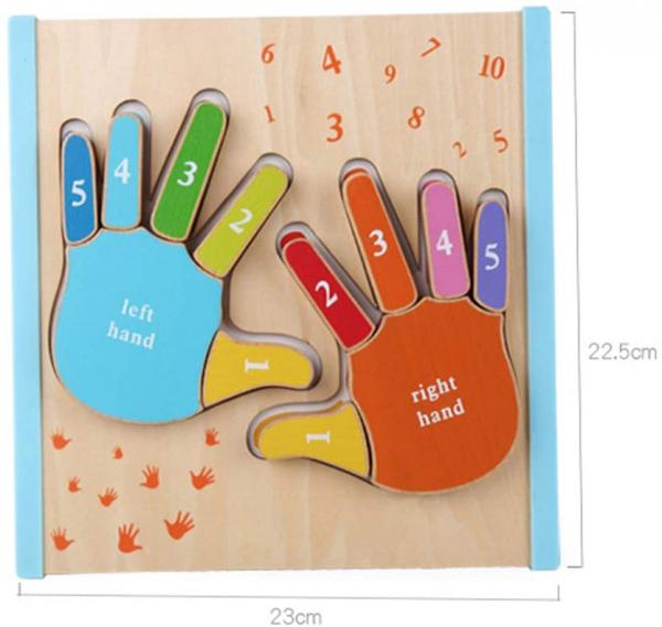 Joc Puzzle Lemn Montesorii 3D Palma - Puzzle Lemn 3D Numarul Degetelor 6