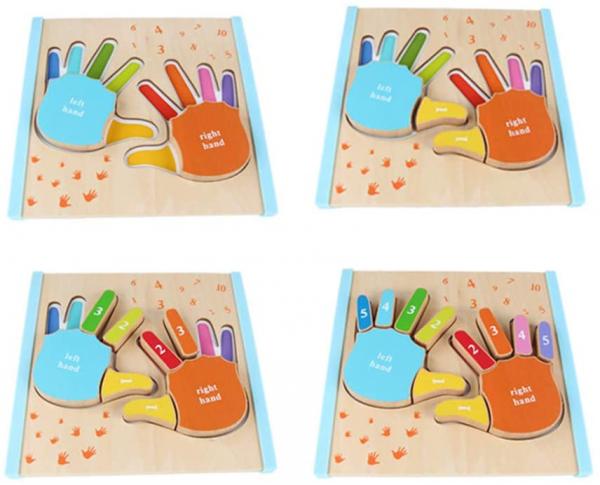Joc Puzzle Lemn Montesorii 3D Palma - Puzzle Lemn 3D Numarul Degetelor 4