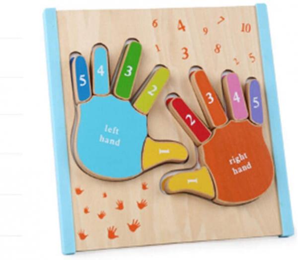 Joc Puzzle Lemn Montesorii 3D Palma - Puzzle Lemn 3D Numarul Degetelor 1