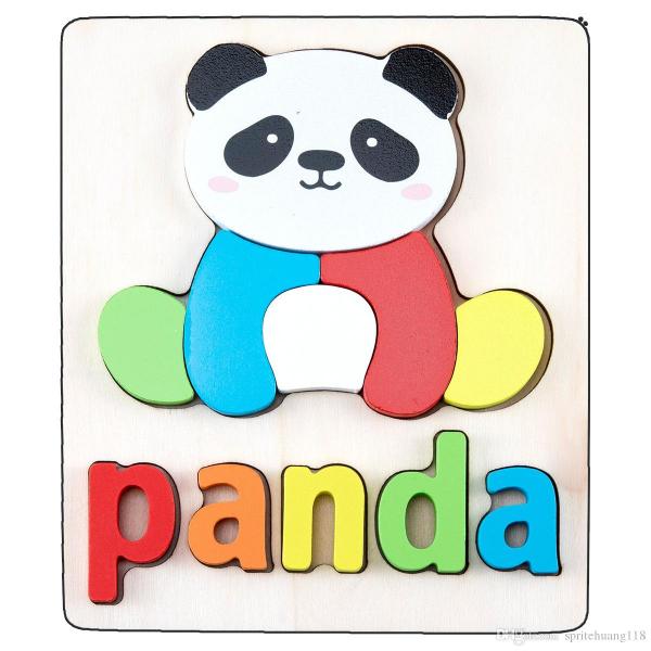 Set 2 Puzzle Educational din Lemn 3D Imagini cuvinte in Engleza. 8