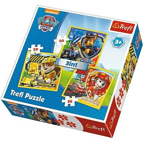 Puzzle 3 in1 Patrula catelusilor 0