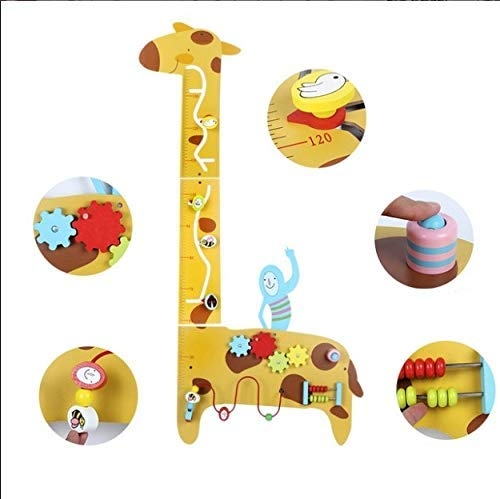 Placa de masurat din lemn Girafa cu activitatii copii 7
