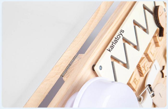 Placa din lemn Montessori Senzoriala Incuietori Busy Board 2 in 1 [7]