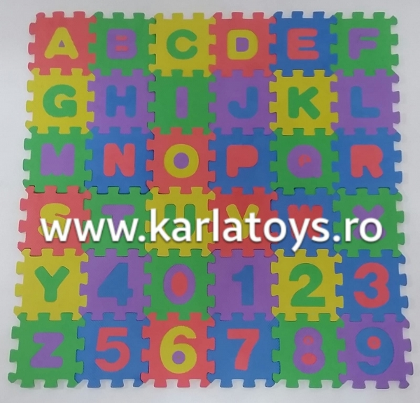 Set covoras puzzle cu cifre si litere 36 buc 12/12cm 0