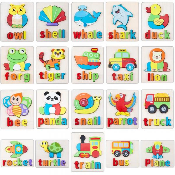 Set 2 Puzzle Educational din Lemn 3D Imagini cuvinte in Engleza. 3