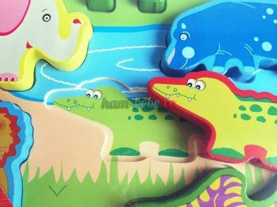 Puzzle lemn 3D Animale Jungla 2
