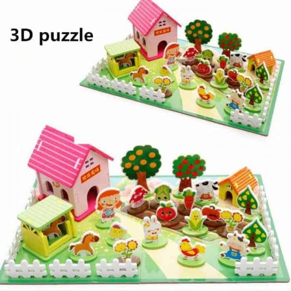 Joc puzzle 3D cu animale din lemn Ferma Animalelor 0