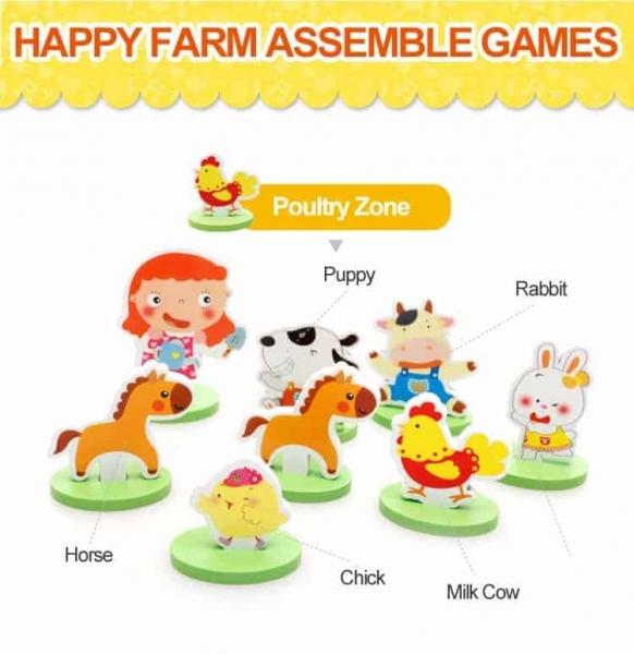 Joc puzzle 3D cu animale din lemn Ferma Animalelor 3