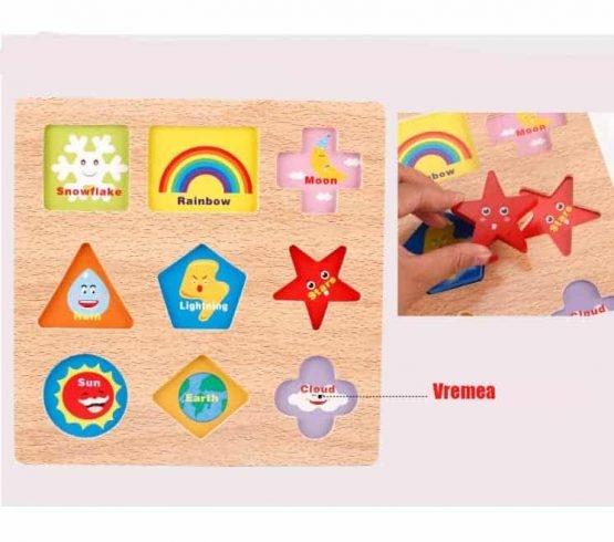 Puzzle lemn 3D Forme si Meteo – un joc educativ din lemn multifunctional: 2