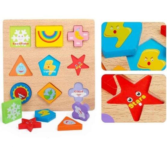 Puzzle lemn 3D Forme si Meteo – un joc educativ din lemn multifunctional: 3