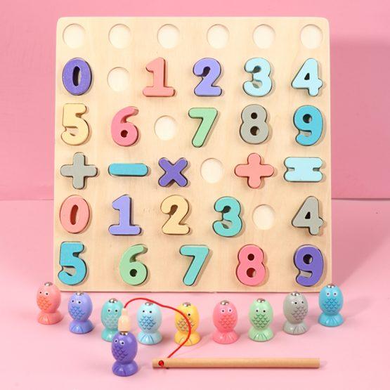 Puzzle din Lemn Cifre si Joc de Pescuit  3D - Joc lemn Puzzle Cifre 2 in 1 0